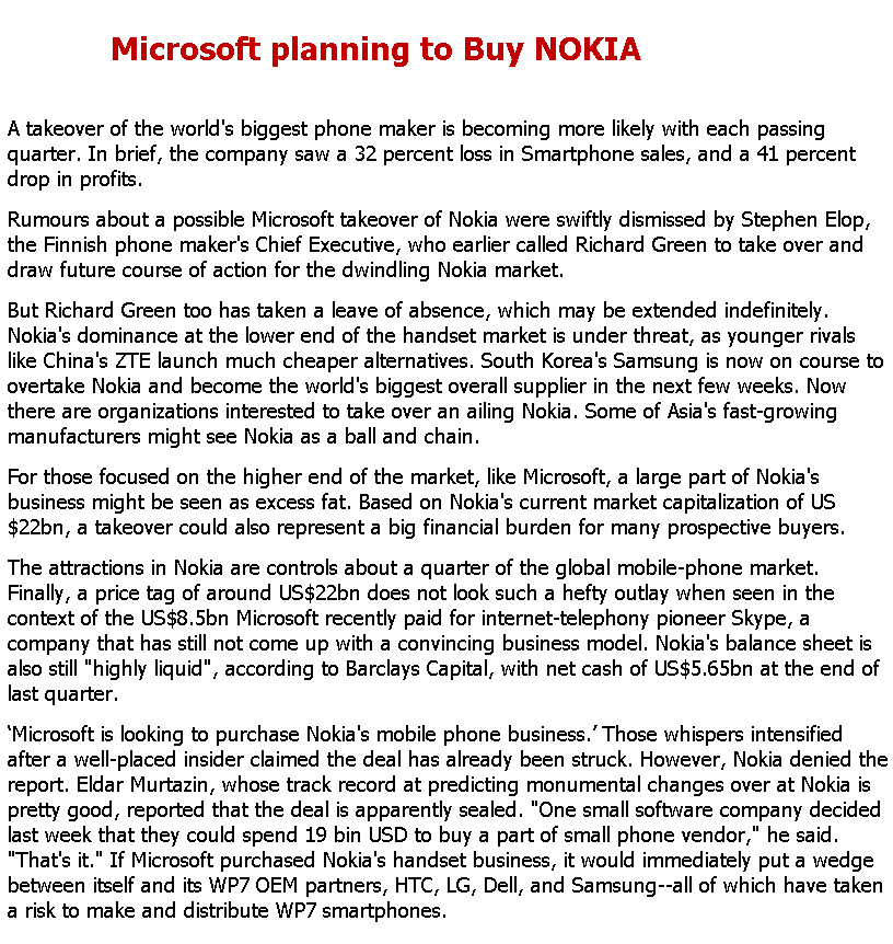 Microsoft planning to Buy NOKIA