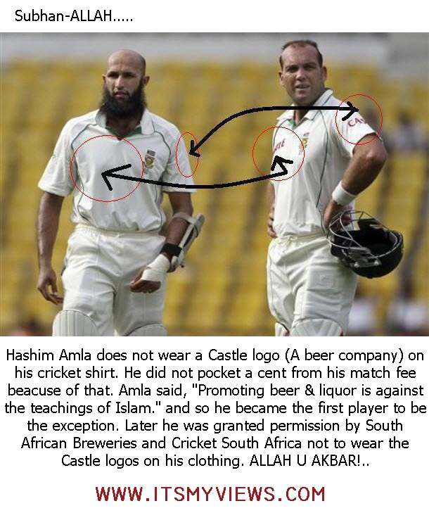 Hashim Amla deny to wear a Castle logo (A beer company) on his cricket match shirt.