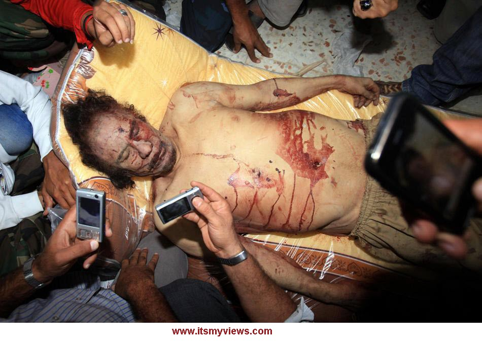 dead body picture of gaddafi Libya