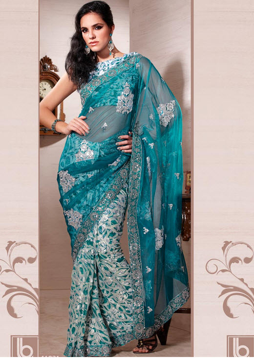 Sky-blue-saree-design-2012