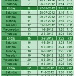 Ramadan Islamic Calendar 2012 Fast timing for Sher Iftaar