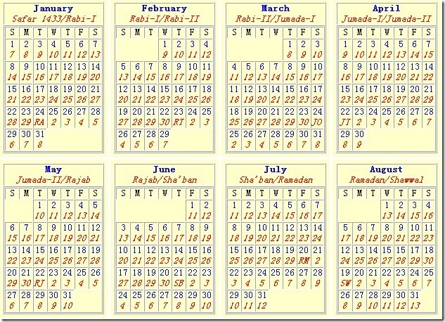 Pakistan Islamic Calendar 2012