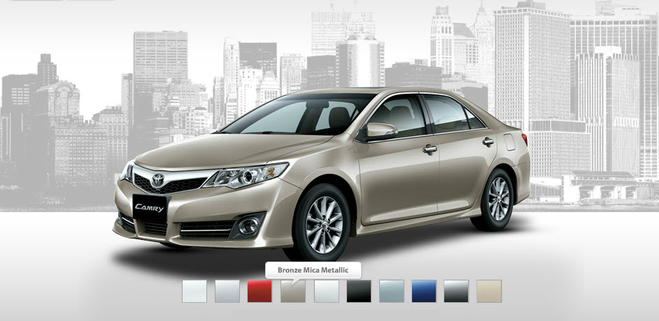 Toyota-Camry-2013 available colors in markets