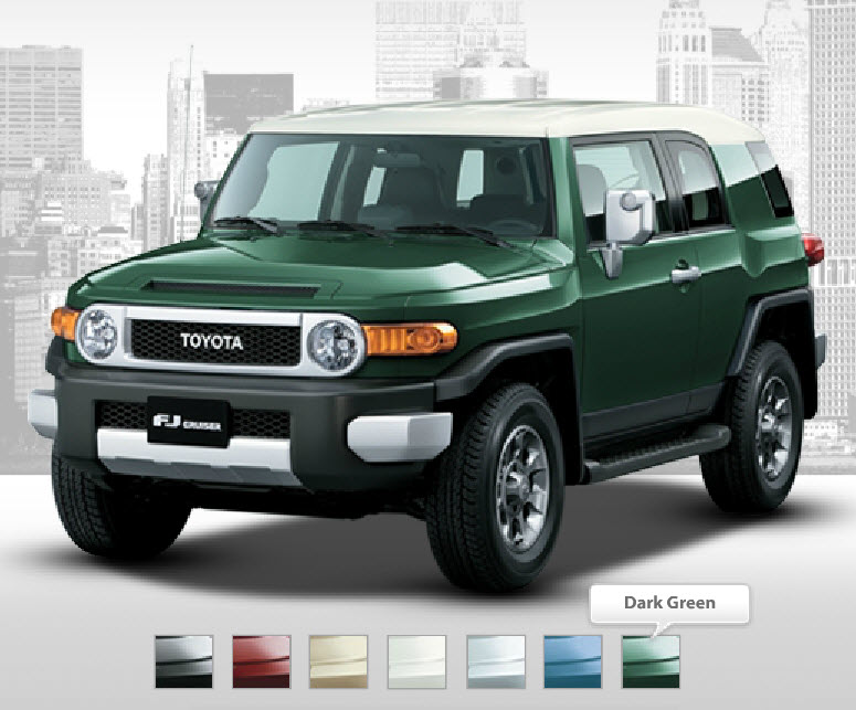 Toyota-FJ-Cruiser-2013-Dark-Green-Color-In-Market-by-Company