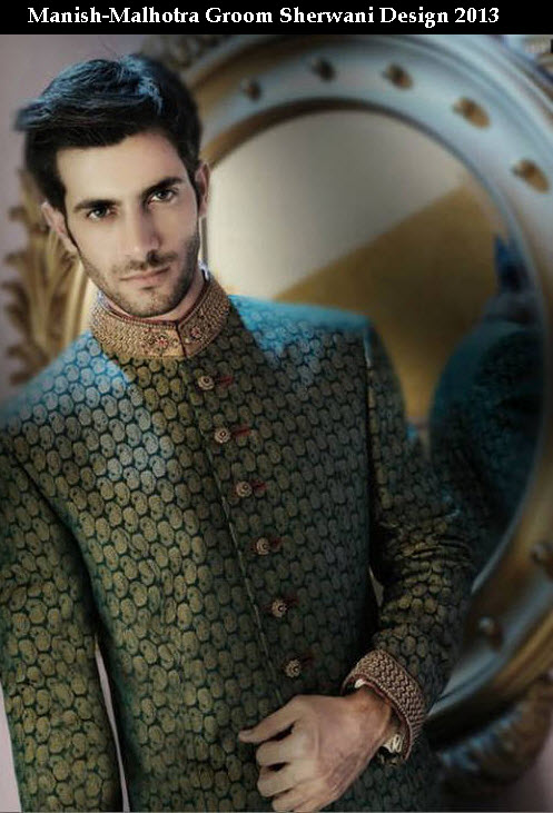 Beautiful Greem color wedding Groom sherwani 2013 picture