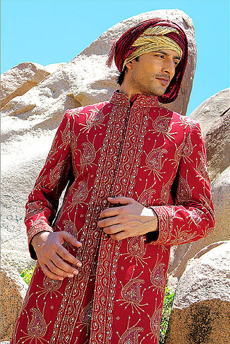 Latest Manish-malhotra Groom sherwani Red Golden color design 2013 with Price