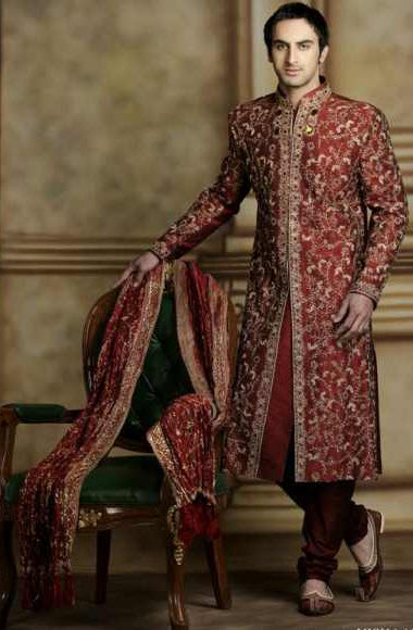 Latest Manishmalhotra groom sherwani red color design 2013