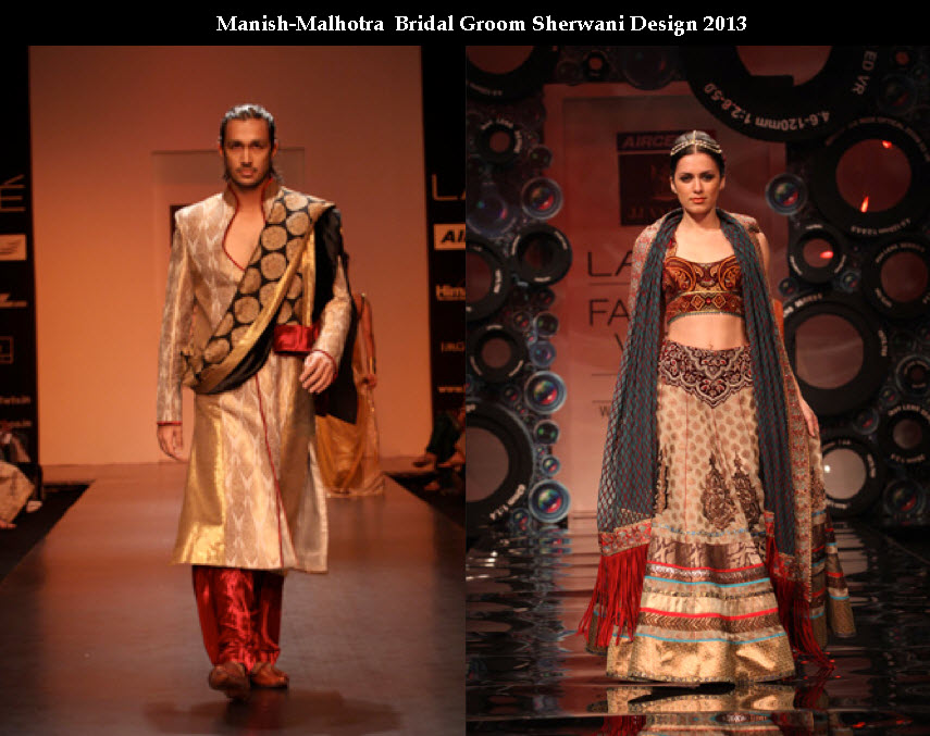 Manish malhotra fashion designer Bridal and groom dress collection picture 2013