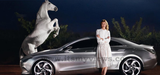 Mercedes-benz sport car with horse and girl picture