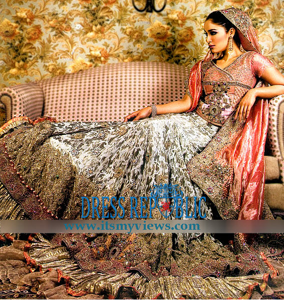 Pakistani indian fashion designer bridal lehenga 2013