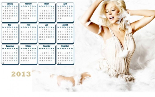 2013 Calendar Most Beautiful Hollywood Female HD widescreen desktop PC