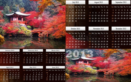 2013-Calendar-Natural Beauty Wallpapers HD background