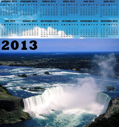 2013-calendar waterfall HD widescreen background wallpaper for desktop pc