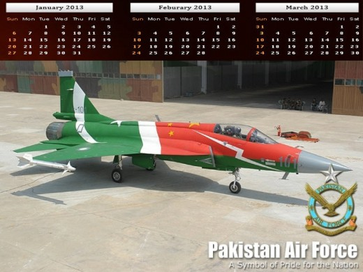 Pakistan Airforce Army Calendar2013 wallpaper