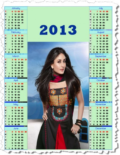 calendar2013-Bollywood Actress female Kareena Kapoor wallpaper