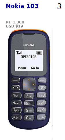 Cheapest mobile 2013 in India and Pakistan Nokia 103