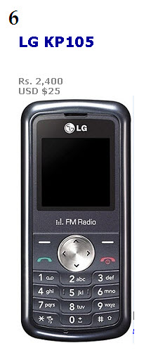 Most popular Low-budget mobile by LG  with priceLG KP105
