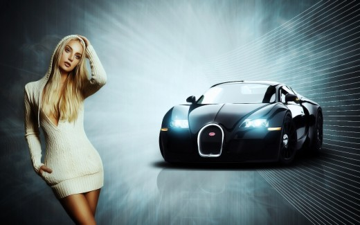 bugatti-Sports-car-with-girl-HD-wdescreen wallpaper 2013 2014
