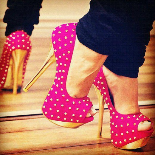 elegant-pink-high heel shoes-to-wear-with-jeans-2013