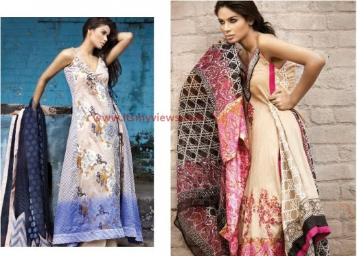 Sana Safinaz Lawn embroided designs 2013-2014