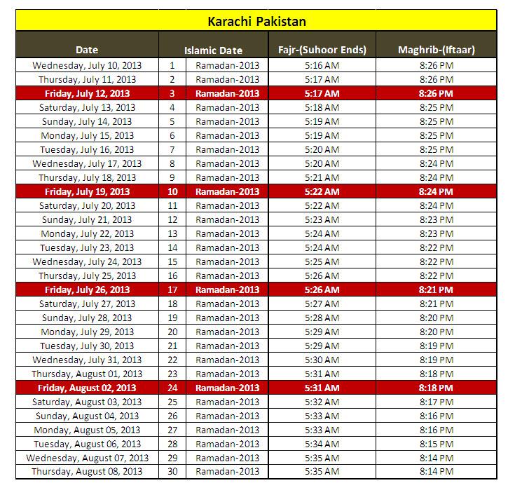 Latest Ramadan 2013 Calendar For Karachi Lahore Quetta