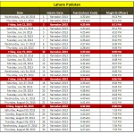 Latest Ramadan 2013 Calendar For Karachi Lahore Quetta Faisalabad Peshwar and Sialkot