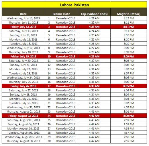 Ramadan-calendar-2013-Lahore-Pakistan-sehri iftar-timing