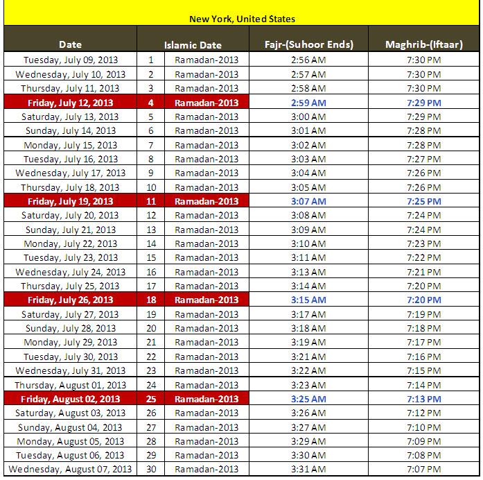 Latest Ramadan Calendar-2013 Saher Iftaar Timetable for New